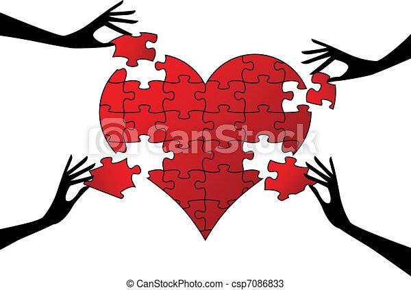 Corazón de rompecabezas rojo con las manos, vector - csp7086833