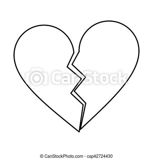 Corazón Roto Contorno Separación Triste Resumen Corazón 10 Eps