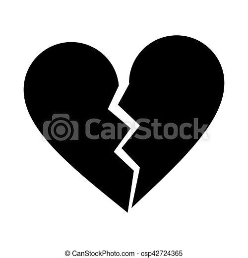 Corazón Roto Silueta Separación Triste Corazón Silueta 10 Eps