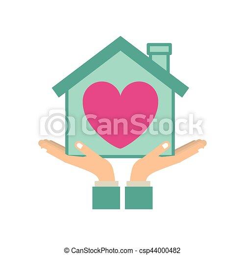 Corazón Silueta Colorido Casa Pegatina Manos De Valor En
