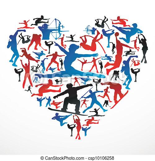 Corazón de siluetas deportivas - csp10106258