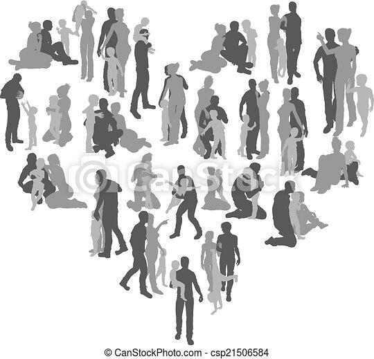 La familia siluetas corazón - csp21506584