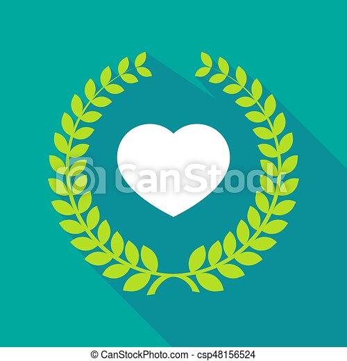 Una corona de laurel de larga sombra con un corazón - csp48156524