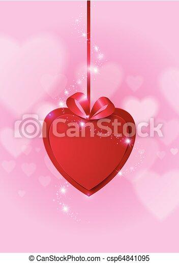 Corazón de papel rojo sobre el fondo abstracto del amor - csp64841095