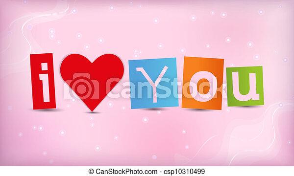 Corazón con texto te amo - csp10310499