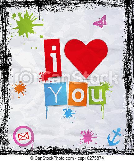 Corazón con texto te amo - csp10275874