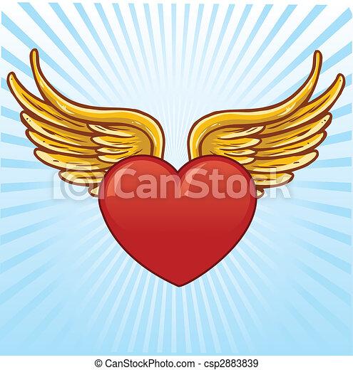 Corazón Vector Alas Ilustración Corazón Todos Vector