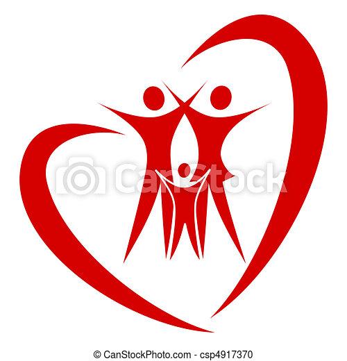corazón, vector, familia  - csp4917370