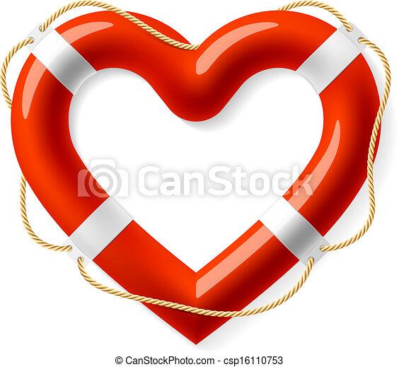 La boya de vida en forma de corazón - csp16110753
