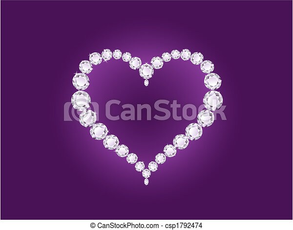 Corazón de diamante Vector en antecedentes violetas - csp1792474
