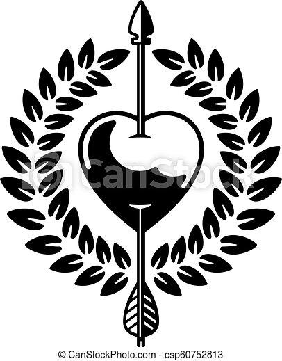 Ilustración de vector de corazón perforada por flechas con corona de laurel. - csp60752813
