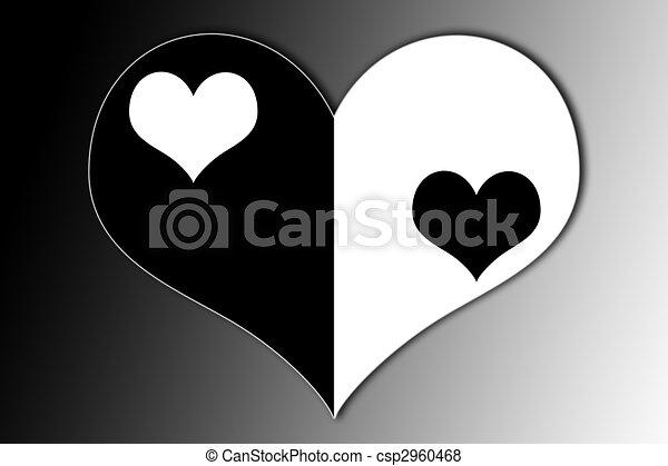 Corazón Yang De Yin Corazón Símbolo Yin Medio Yang Negro