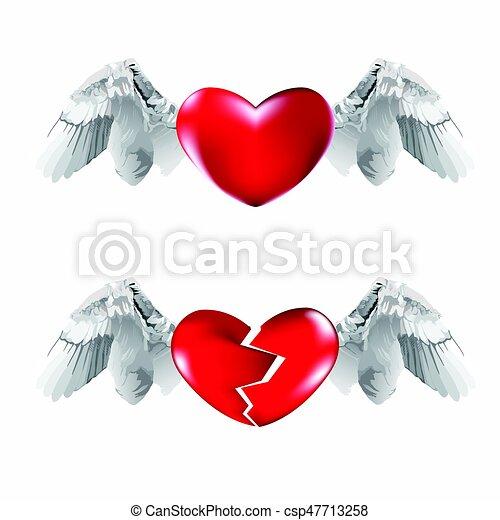 Corazones Alas Corazón Illustration Roto Vuelo Fondo Vector