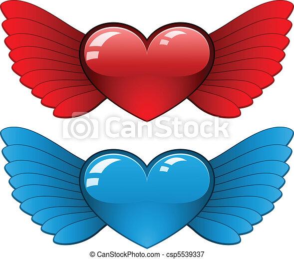 Corazones Alas Azul Corazón Plano De Fondo Blanco Alas Rojo