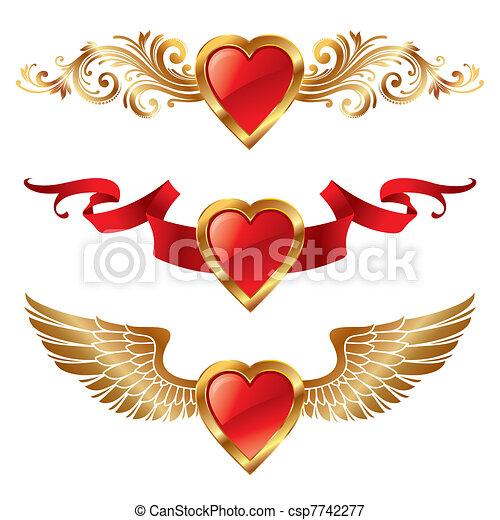 Corazones Decoracion Valentines Vectot - Corazones-de-decoracion