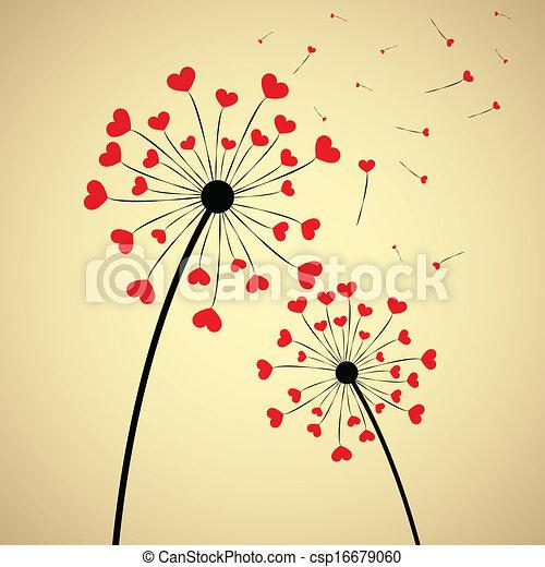 Dandelion con corazones - csp16679060