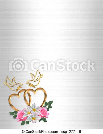 corazones, diseño, oro, boda - csp1277116