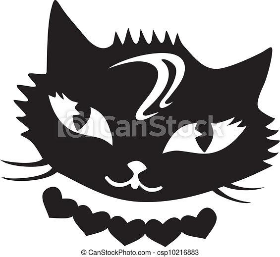 Corazones Fantástico Gato Negro Fantástico Aislado Gato Fondo