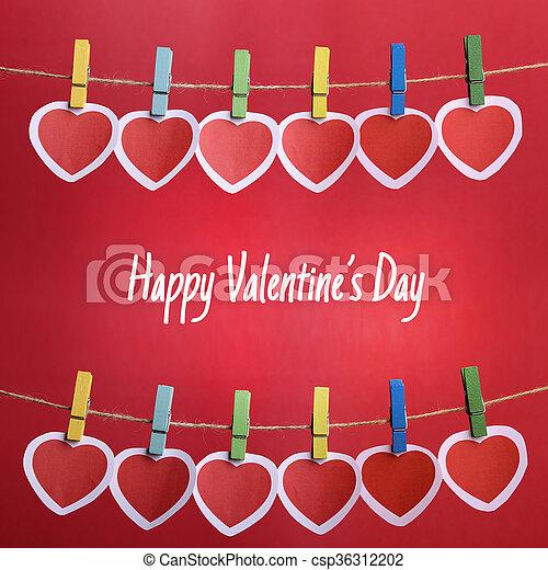 Feliz día de San Valentín con corazones rojos - csp36312202