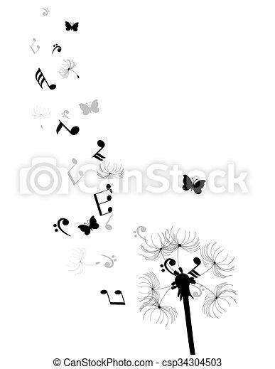 Dandelion anota corazones - csp34304503