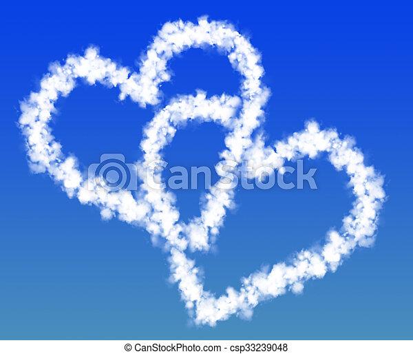 Dos corazones de nubes - csp33239048