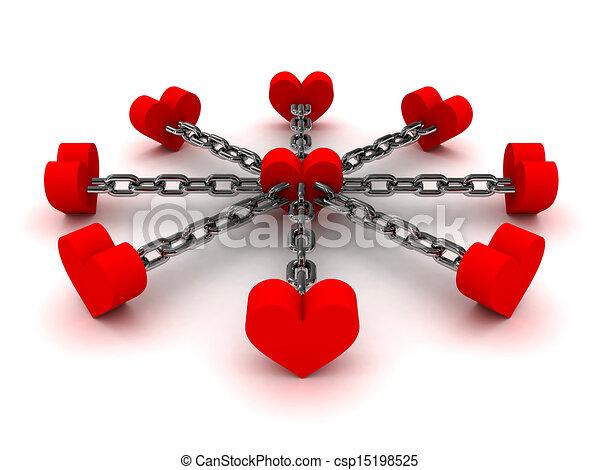 corazones, ocho, negro, ligado, cadena - csp15198525