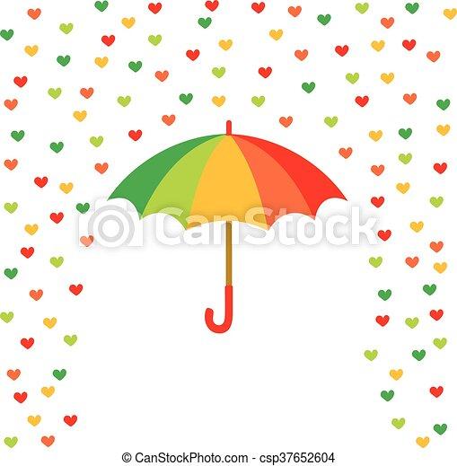 Corazones, paraguas, coloreado, lluvia. Paraguas, coloreado ...