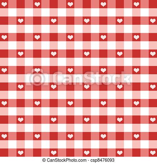 Gingham y el patrón de corazones - csp8476093