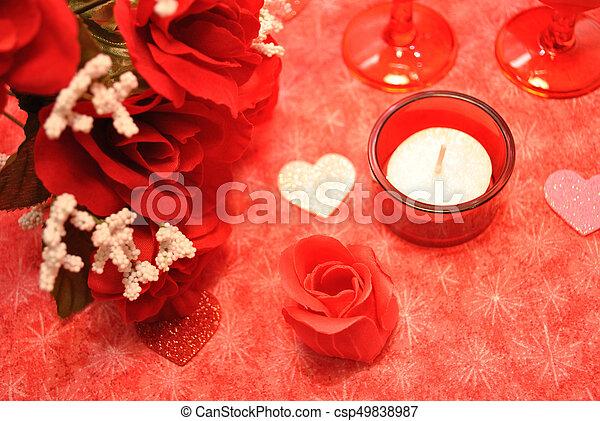 corazones romntico rosas rojas csp49838987
