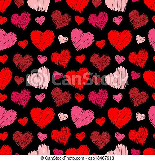 Patrón de corazones sin costura - csp18467913