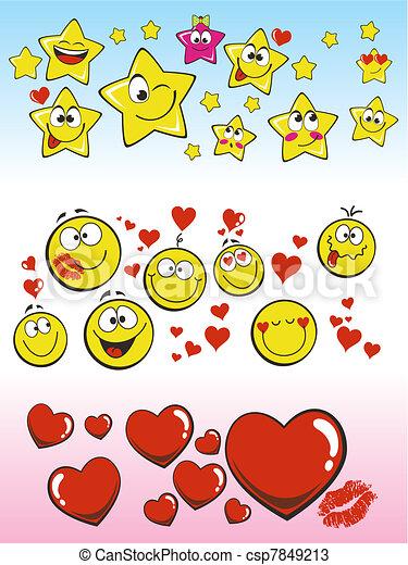 Corazones Sonriente Sonrisa Estrellas Smilies Expresar