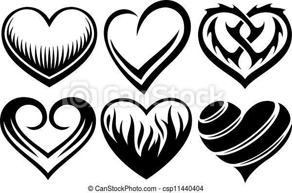 Figuras Para Tatuajes corazones, vector, tatuajes. corazones, vector, ilustración, tatuajes.