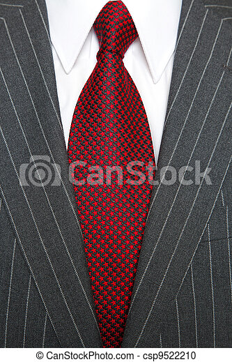 Traje gris de rayas y corbata - csp9522210