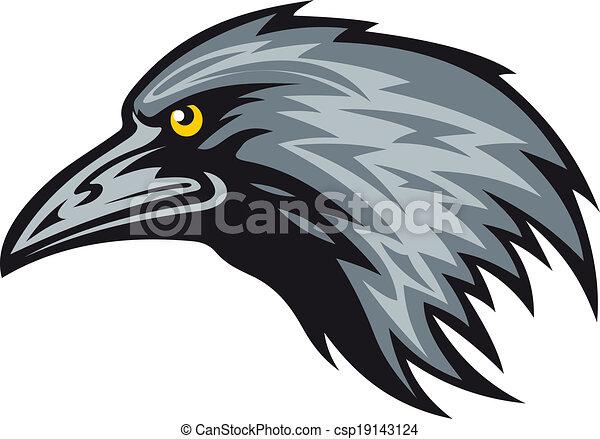 Corbeau mascotte t te mascot illustration vecteur noir corbeau - Dessin corbeau facile ...