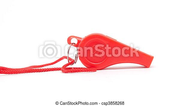 corda, apito, branco vermelho, fundo - csp3858268