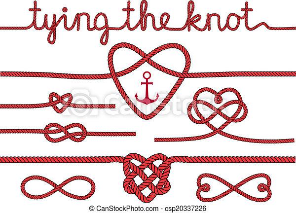 corda, cuori, set, nodi, vettore - csp20337226