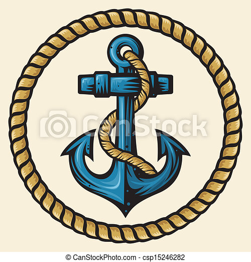 corda, desenho, âncora - csp15246282