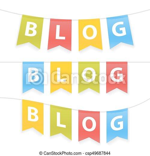 corda, parola, pennants, illustrazione, blog, vettore - csp49687844