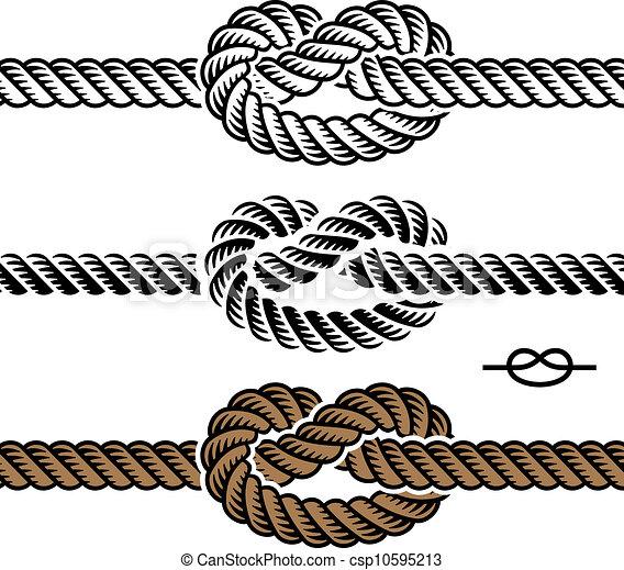corda, símbolos, vetorial, pretas, nó - csp10595213