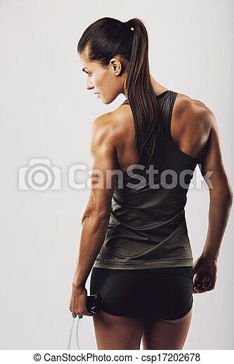 corda, saltando, bodybuilder, femininas, segurando - csp17202678