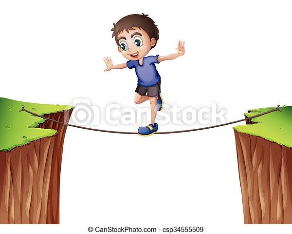 corde, garçon, équilibrage - csp34555509