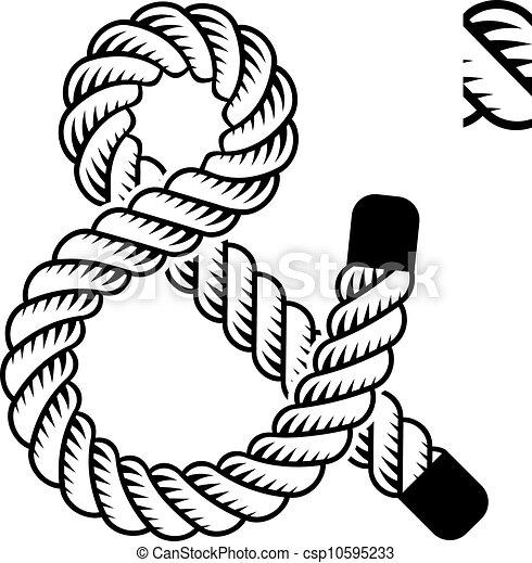 corde, noir, symbole, vecteur, esperluète - csp10595233