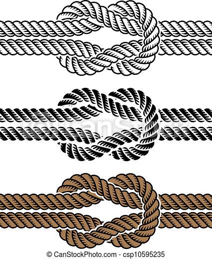 corde, symboles, vecteur, noir, noeud - csp10595235