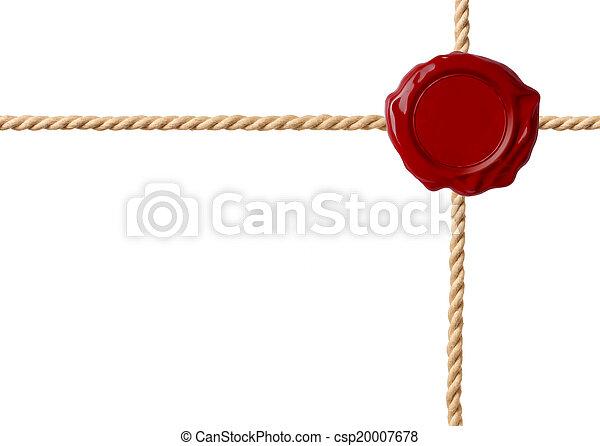 cordes, cire, isolé, traversé, cachet, rouges - csp20007678
