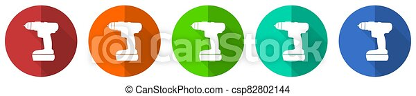 Cordless screwdriver, drill icon set, red, blue, green and orange flat design web buttons isolated on white background, vector illustration - csp82802144