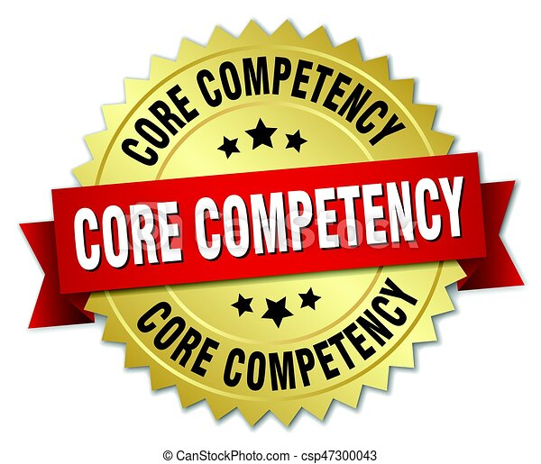 Core Competency Round Isolated Gold Badge.