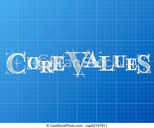 Core values word blueprint core values text hand drawn on vector core values word blueprint csp52197911 malvernweather Choice Image