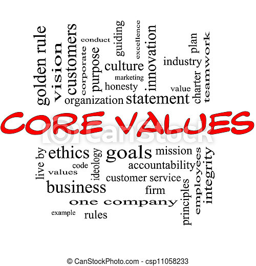 Core Values Word Cloud Concept in Red & Black - csp11058233