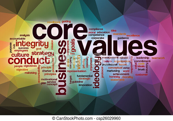 core values word cloud with abstract background core