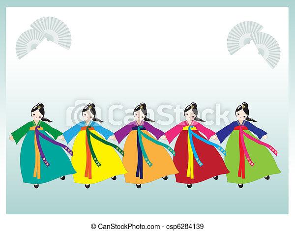 coreano, dançarinos - csp6284139